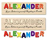 Wooden Personalized Name Puzzle Educational Toy Personalized Text Greetings Gift for Boy or Girl Handmade