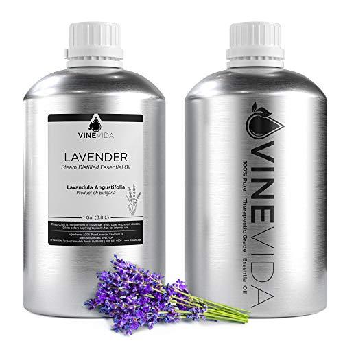Bulk Lavender Essential Oil - 1 Gallon Lavender Essential Oil - 100% Pure & Undiluted Essential Oil - 8 Pound Lavender Oil for DIY Soaps, Candles, and Blends - VINEVIDA