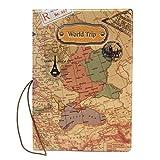 Pinzhi Nueva Cubierta Funda Pasaporte Estampado Mapa del Mundo Cuero PU Organizador