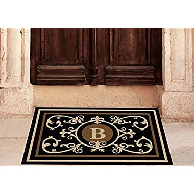 Edinburgh Estate Doormat - Monogrammed Black & Suede B 2 x 3