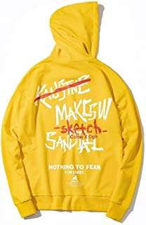 Men's Clothing, European and American Trend Men's Hooded Sweatshirt, Couple Hip hop Loose Long-Sleeved Hooded Pullover (Color : Yellow, Size : L)