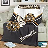 Custom Cheerleading Cheerleader Personalized Name Premium Quality Sherpa Fleece Throw Blanket 3D Printed Warm Fluffy Cozy Soft Tv Bed Couch Comfy Microfiber Velvet Plush