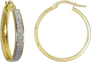 Jewelco London Ladies 9ct Gold MoonDust Stardust 4mm Hoop Earrings 24mm