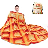 mermaker Waffle Blanket 2.0 Double Sided 60 inches for Adult and Kids, Novelty Realistic Waffle Food Throw Blanket, 285 GSM Soft Flannel Blanket