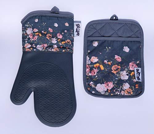 glove Ofenhandschuh & Topflappen Set: Backofen- Grillhandschuh aus Silikon und Baumwolle, sehr hitzebeständig, rutschfest, abwaschbar