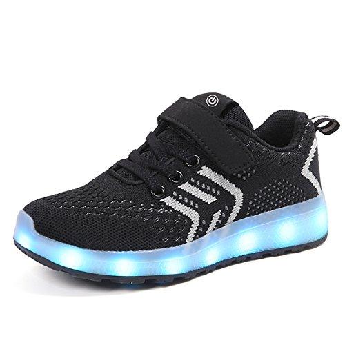 Axcer LED Scarpe Sportive per Bambini Ragazze e Ragazzi 7 Colori USB Carica Lampeggiante Luminosi Running Sneakers con Luci Traspirante Basso Ultraleggero Sport Baskets Shoes