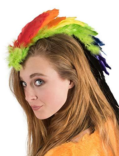 Luxuspiraten - Kostüm Accessoires Zubehör Haarclip mit Irokesen Frisur aus Federn im Regenbogen Look, Hairclip Rainbow Iroquois Feathers, perfekt für Karneval, Fasching und Fastnacht, Mehrfarbig