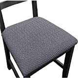 Seat Covers for Dining Room Chairs Stretch Chair Seat Slipcovers Washable Removable Dining Room Kitchen Chair Covers (Set of 4, Gray)