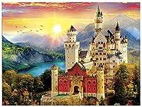 NC88 Diy5Dダイヤモンドペインティングキットフルドリル刺繡風景城モザイクデッサン湖ラインストーンパズル画像ウォールステッカー家の装飾12x16インチ(フレームレス)