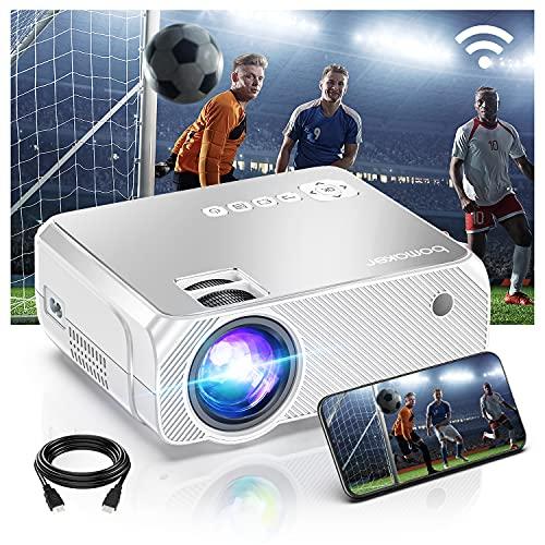BOMAKER Proyector WiFi Portatil Full HD 1080P Nativo 6500 Lúmenes para Cine en Casa Nativo 720P 300'' Pantalla para iPhone/Android/TV Stick/Laptop GC355