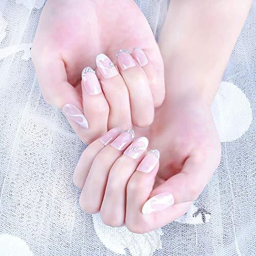 Ushiny 24 künstliche Fingernägel, Mandeldesign, künstliche Fingernägel mit Kristall, volle Abdeckung, mittelgroße Kunstnägel für Frauen und Mädchen (Rosa)