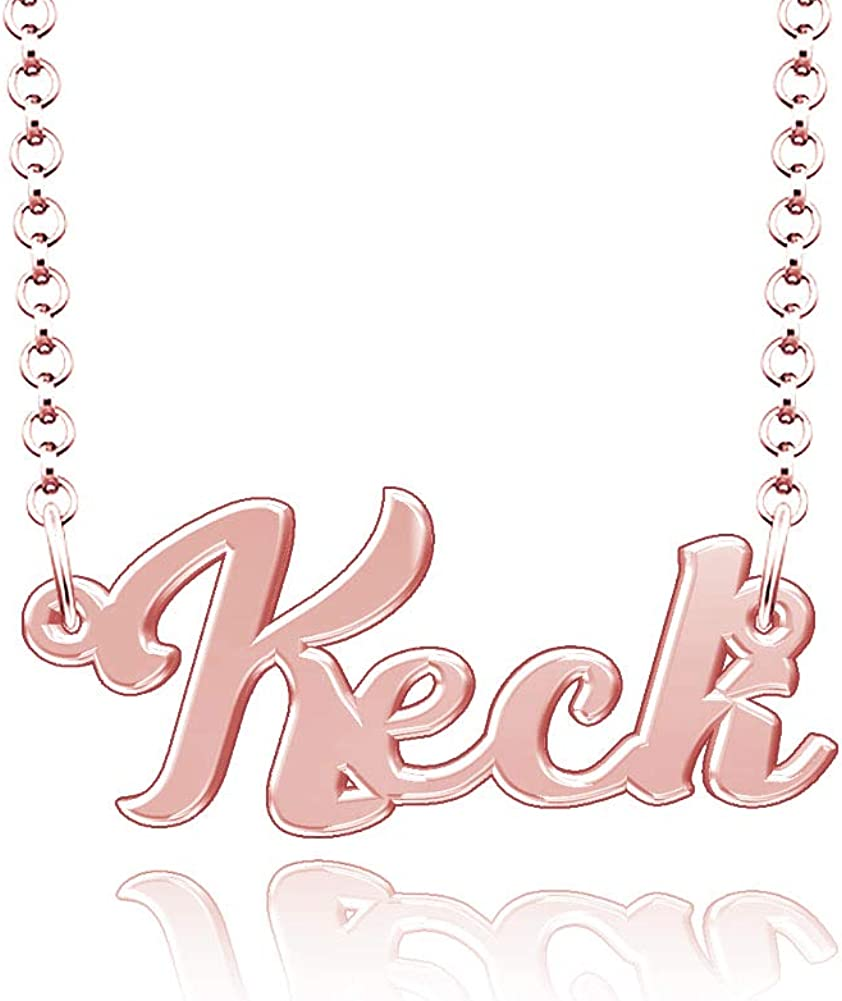 LoEnMe Jewelry Customized Keck Name Necklace Stainless Steel Plated Custom Made of Last Name Gift for Family