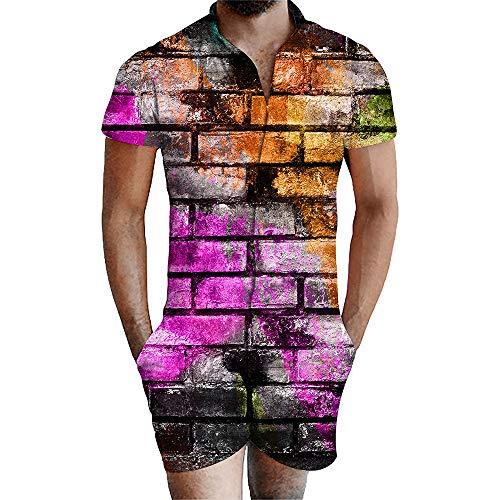 Blwz Mannen Siamese Shorts Jumpsuit Romper Korte Mouw 3D Gekleurde Muur Print Zomer Slim fit Zomer Sweatshirts Uniform Jumpers Outdoor Vrije tijd S-3XL