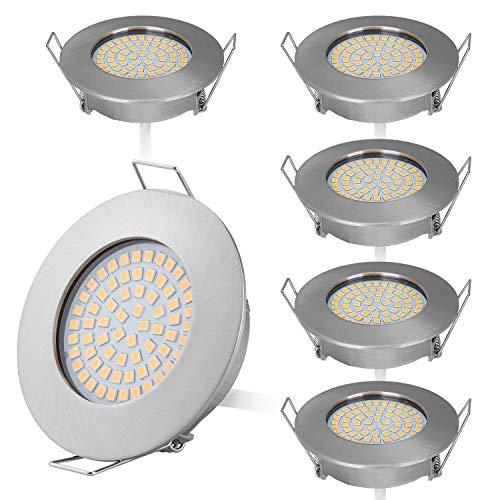 HCFEI Juego de 6 mini focos LED empotrables de diseño plano, 230 V, solo 25 mm de profundidad de montaje de 3,5 W, 400 lúmenes, acero inoxidable cepillado, orificio de 58-63 mm (blanco neutro 4000 K)