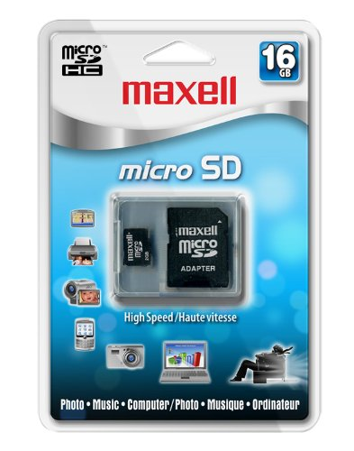 Maxell 16 GB Class 2 Micro SDHC Flash Memory Card with Adapter 502003