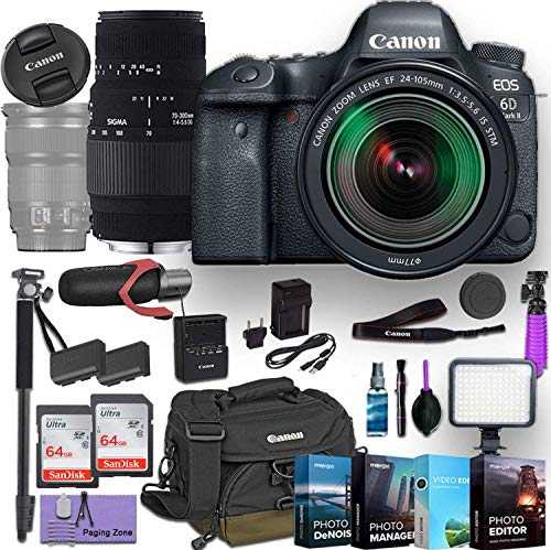 Canon EOS 6D Mark II DSLR Camera w/EF 24-105mm f/3.5-5.6 is STM Lens and Sigma 70-300mm DG Macro Lens Bundled with Commander Optics Accessories (Microphone, 4-Pack Photo Editing Software & More)