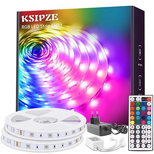 Ksipze Tira de luces LED RGB con cambio de color, con mando a distancia de 44 botones y fuente de alimentación para iluminación de armarios, decoración del hogar, bar, cocina, fiesta