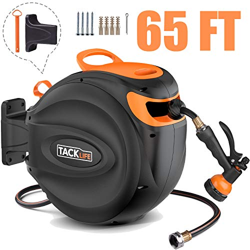 TACKLIFE Hose Reel with 7 Adjustable Sprayer Nozzle | 65+7 FT Retractable Water Hose | Wall Mount | Auto Rewind | 180 Degree Pivot | Brass Connector | Any Length Lock | for Watering, Car Washing