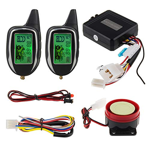 EASYGUARD EM208-2 2 Way LCD Display Motorcycle Alarm System with Remote Engine Start Motion Sensor & Built in Shock Sensor DC12V
