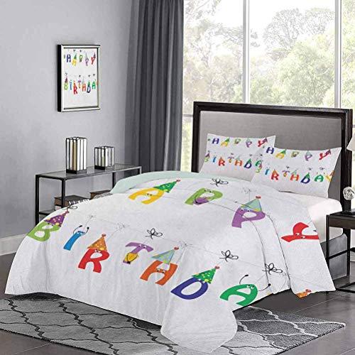 Juego de 3 colchas de colcha para celebración, lindas letras coloridas en cuerdas, caras divertidas, sombreros de fiesta puntiagudos para niños, adolescentes, ropa de cama, que protege su edredón, mul
