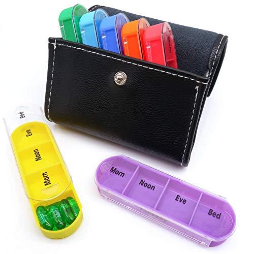 Pastillero Semanal 7 días 28 compartimentos con Estuche de Cuero cartera embalaje,Organizador...