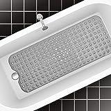 Molbory Badewannenmatte rutschfest 100x40cm, rutschfeste Badematten mit Saugnapf, Duschmatte Badewanneneinlage Antirutschmatte Badewanne, Badewannenmatte für Kinder und Baby (Grau)