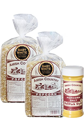 Amish Country Popcorn | Variety Bundles | 4 lb Baby White Popcorn Kernels and 6 oz BallPark Style ButterSalt Set | Old Fashioned with Recipe Guide