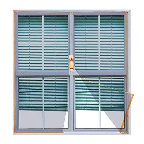 Copechilla Mosquitera ventana DIY 1.1m x 1.3m gris,con correa adhesivo y cremallera,fácil instala y puede lavar y duradero,para interior,exterior,plástico,madera,aluminio de la ventana