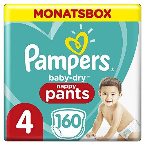 Pampers Baby-Dry Pants, Gr. 4, 9-15kg, Monatsbox (1 x 160 Höschenwindeln), Einfaches An- und Ausziehen, zuverlässige Pampers Trockenheit