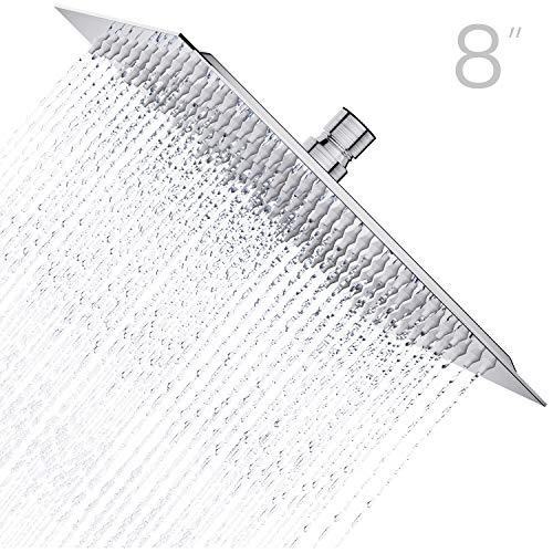 Derpras Pommeau de douche carré en acier inoxydable 304 ultra fin puissant haute pression pour salle de bain (nickel brossé) (20,3 cm, 121 jets)