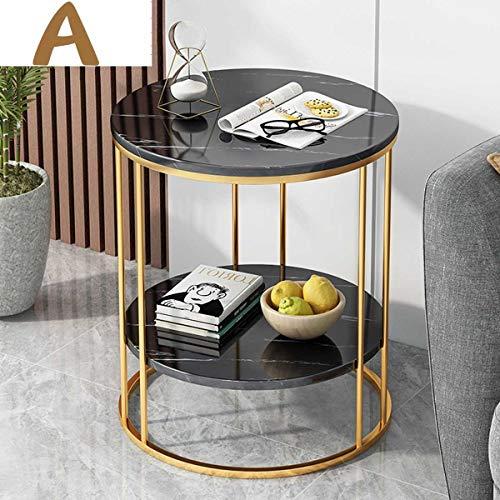 ZGQA-GQA Nordic Simple Hierro Doble Capa Pequeña Mesa de Café Mesa de Té Normas Redondas Habitación Mini Sofá Mesa Auxiliar con Estante de Almacenamiento (Color : A)
