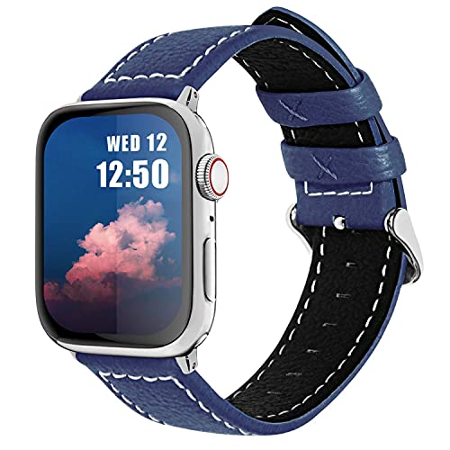 JIAOXIAOHUI Correa de Reloj de Cuero Apple 42mm 38mm 44mm 40 mm, Compatible para iWatch Series SE / 6/5/4/3/2/1 Correas de Reloj (Color : Dark Blue, Size : 38mm/40mm)