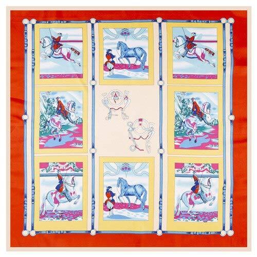 YDMZMS Pañuelo de Seda 100% Pañuelo Estampado de Caballo Pañuelo musulmán Pañuelos Cuadrados Pañuelos de señora Pañuelo Femenino 100 * 100cm 100CM x 100CM Rojo