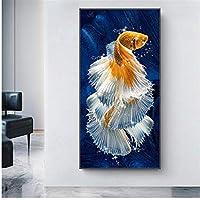 魚の蓮の池の写真キャンバスのポスターとプリントの油絵リビングルームの壁のアートの写真30x60cmフレームなし