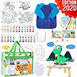 Dinonano Acrylic Painting Art Supplies for Kids - Paint Canvas Kit Set with Canvases Easel Brushes Mixing Palette Smock - Arts and Crafts Activity for Boys Girls Age 4 5 6 7 8 9 Year Old