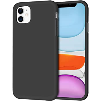 "iPhone 11 Case, Anuck Non-Slip Silicone Gel Rubber Bumper Case with Soft Microfiber Lining Cushion Hard Shell Shockproof Full-Body Protective Case Cover for Apple iPhone 11 6.1"" 2019 - Black"