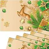 matches21 - Set di 6 tovagliette all'americana, motivo natalizio, cervo, stelle dorate, verde, in plastica, 43,5 x 28,5 cm, lavabili