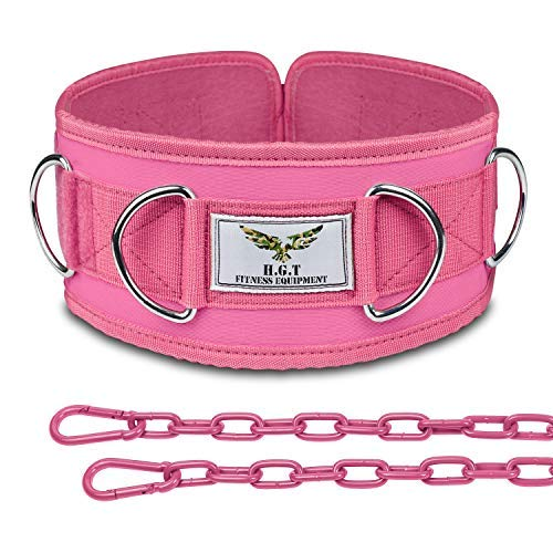 The x Bands Weighted Dip Belt - Weight Lifting Belt for Women - Weight Lifting Belts for Men - Weight Belt with Chain- Chain Belts for Women - Weightlifting Belt Men - Chain Belt Pink L