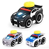 Police Car Toy with Lights and Sounds, 5.4' Friction Powered Car Police Engine Truck with 3 Traffic Roadblock and 1 Traffic Light Traffic Man Toy Truck for Toddler, 1:32 Scale Pat & Go Toy Car(3 Pack)