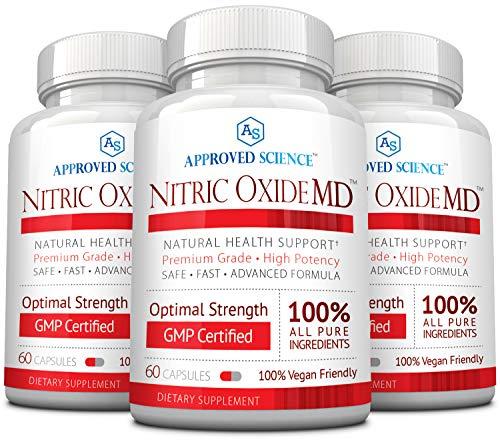 Nitric Oxide MD™ - Muscle Development, Lean Body Mass, Improve Oxygen Supply, Reduce Fatigue - 60 Vegan Friendly Capsules Per Bottle - 3 Bottles