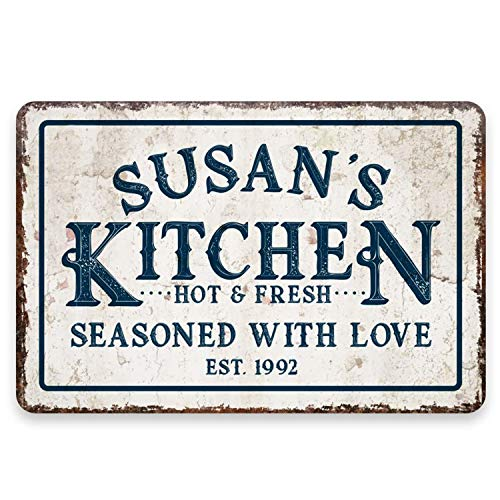 WEIMEILD Personalized Vintage Distressed Look Kitchen Seasoned with Love Metal Room Sign-8