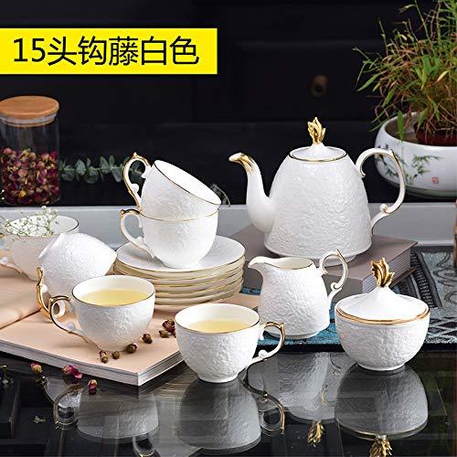Set di tazze da tè e caffè Phnom Penh con piattino, set da tè pomeridiano, 16 pezzi, 15 pezzi in rilievo bianco – grande pentola 1 lattiera 1 zuccheriera 1 tazza 6 piatti – confezione regalo