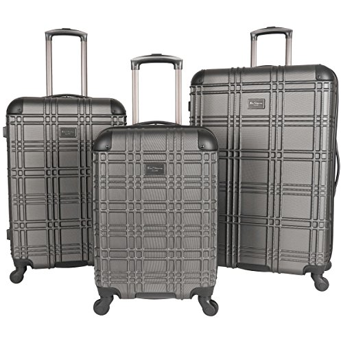 Ben Sherman Nottingham 3-Piece Lightweight Hardside 4-Wheel Spinner Travel Luggage Set: 20' Carry-On, 24', & 28', Charcoal