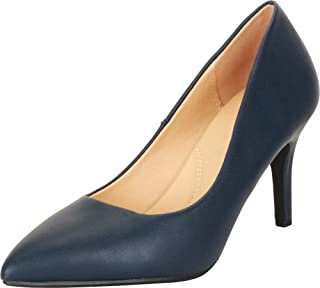 Cambridge Select Women's Classic Slip-On Closed Pointed Toe Padded Comfort Insole Stiletto Mid Heel Pump