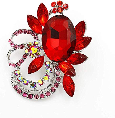 Collar de Moda para Mujer Broches Grande Shinning Piedra de acrílico y Cristal Diamante broches for la Mujer en Colores Surtidos, Nombre de Color: púrpura Izar (Color : Red)