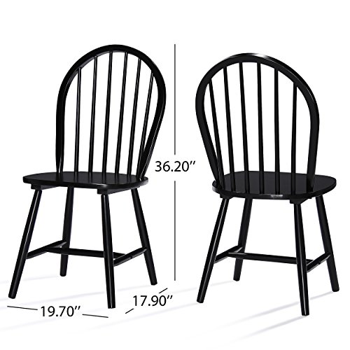 Christopher Knight Home 302241 Declan Farmhouse Cottage High Back Spindled Rubberwood Dining Chairs, 2-Pcs Set, Black