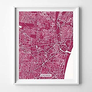 Chennai India City Street Map Wall Art Home Decor Poster Urban City Hometown Road Print - 70 Color Choices - Unframed
