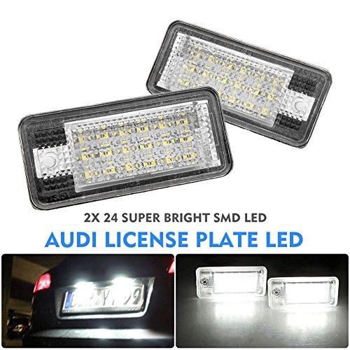 Alftek Lot de 2 ampoules LED pour voiture sous licence pour plaque d'immatriculation A3 S3 A4 B6 B7 A6 S6 A8 RS4