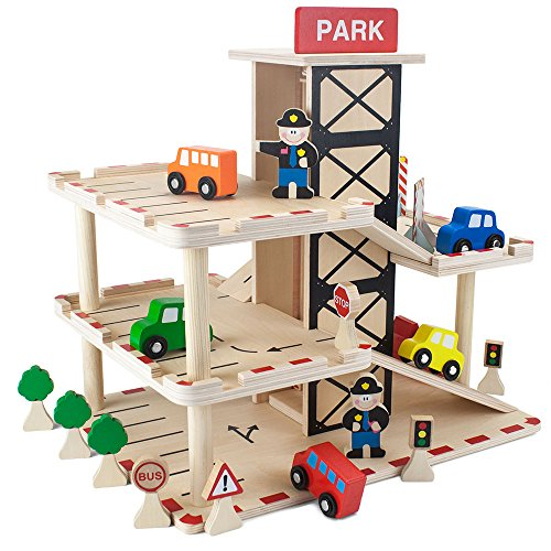Imagination Generation Downtown Deluxe Wooden Parking Garage with Elevator - Cars and More Included! (19 pcs)