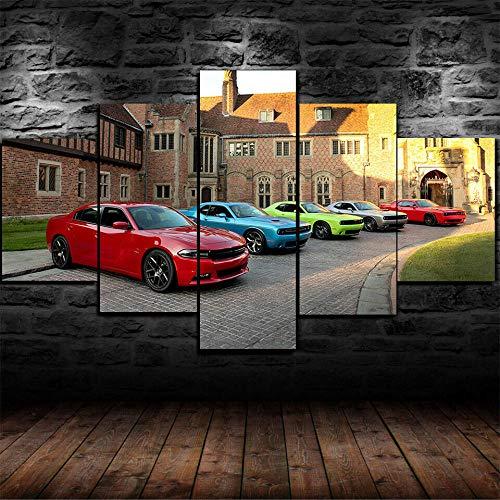 ADKMC IKDBMUE Cuadros Modernos Impresión de Imagen Artística Digitalizada | Lienzo Decorativo para Tu Salón o Dormitorio | Challenger Charger Evolution Superdeportivo | 5 Piezas 200x100cm(Sin Marco)